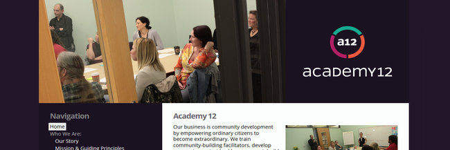 Academy 12 website design, homepage screenshot