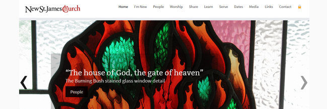 New St. James, complete website redesign, responsive, homepage screenshot
