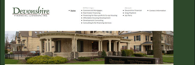 Devonshire Financial: website design, homepage, a screenshot