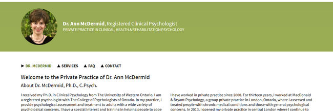 Dr. McDermid Ph.D., C.Psych web design screenshot, photography, optimization