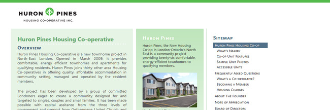 Huron Pines Housing Co-operative, website design, homepage screenshot