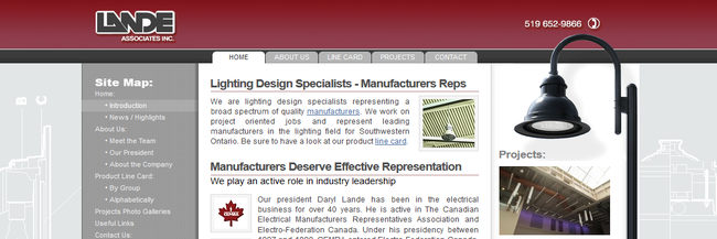 Lande Associates Inc.: website design, homepage, a screenshot