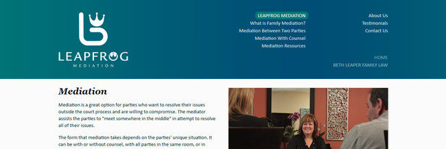 Leapfrog Mediation, website design, homepage screenshot