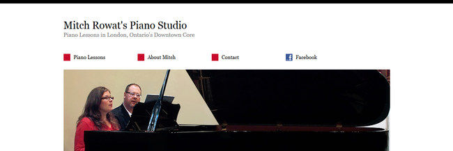 Mitch Rowat's Piano Studio: website design, homepage, a screenshot