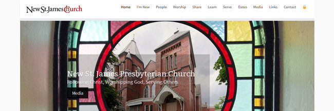 New St. James responsive website design, select photography, homepage screenshot