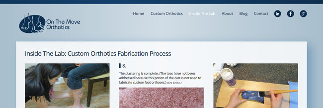 On The Move Orthotics, Custom Orthotics London Ontario, slight website redesign, conversion / rebuild, homepage screenshot