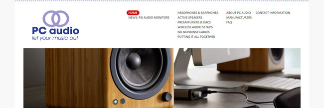 PC Audio, website design, homepage screenshot
