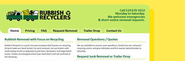 Rubbish Recyclers: website design, homepage, a screenshot