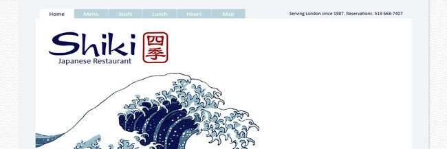 Shiki Japanese Restaurant: website design, homepage, a screenshot