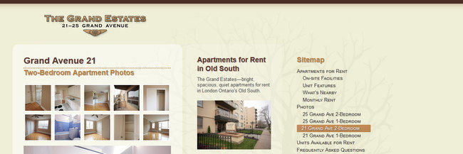 The Grand Estates, website design, homepage screenshot