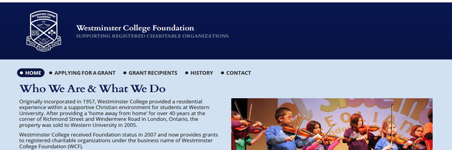 Westminster College Foundation (London Ontario) website design, select photography, creative direction