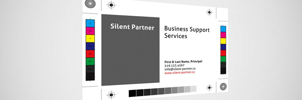 Wordmark and business card design for Silent Partner. Tagline: Business Support Service. Contact info and website address.
